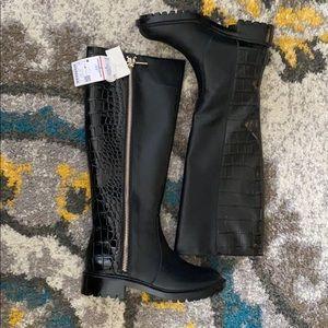 Zara crocodile embossed boots
